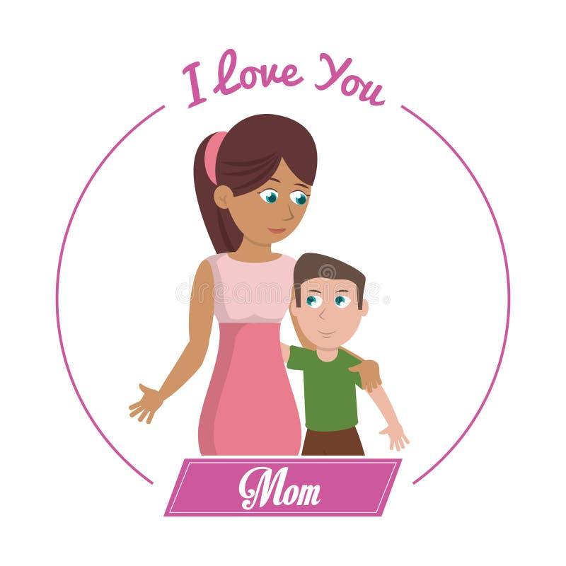 Kocham ciebie mama syn i ilustracji