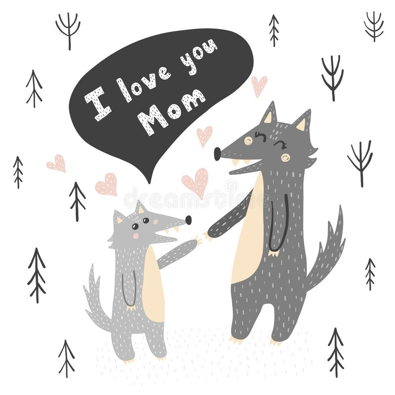 Kocham Ciebie mamy wektorowa ilustracja z ślicznymi wilkami ilustracja wektor