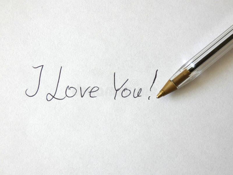 Kocham Ciebie pióro Ręcznie pisany Na papierze zdjęcie royalty free