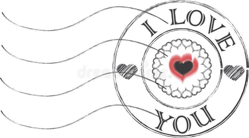Kocham ciebie poczta znaczek ilustracja wektor
