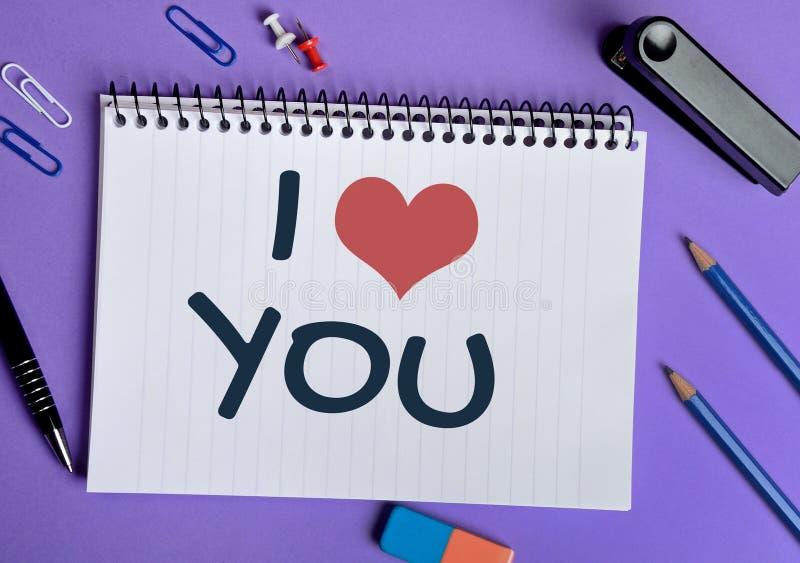 Kocham Ciebie słowo fotografia stock