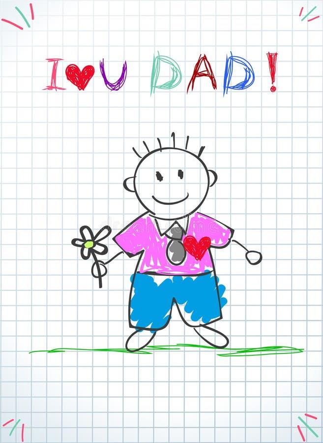 Kocham Ciebie tata, Szcz??liwa ojca dnia kartka z pozdrowieniami ilustracja wektor