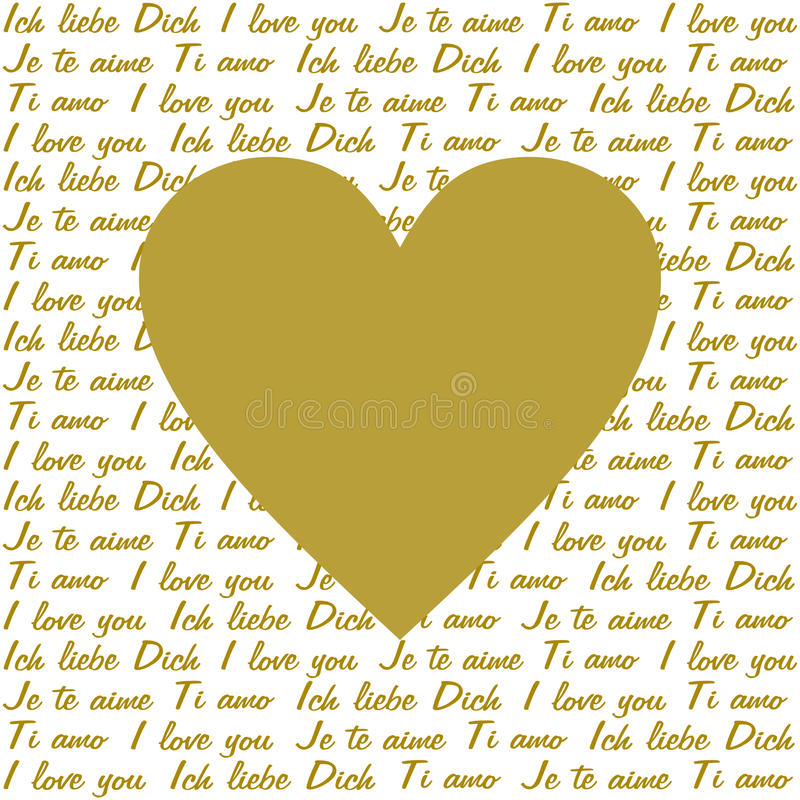 Kocham ciebie w 4 językach i złotym sercu ilustracja wektor