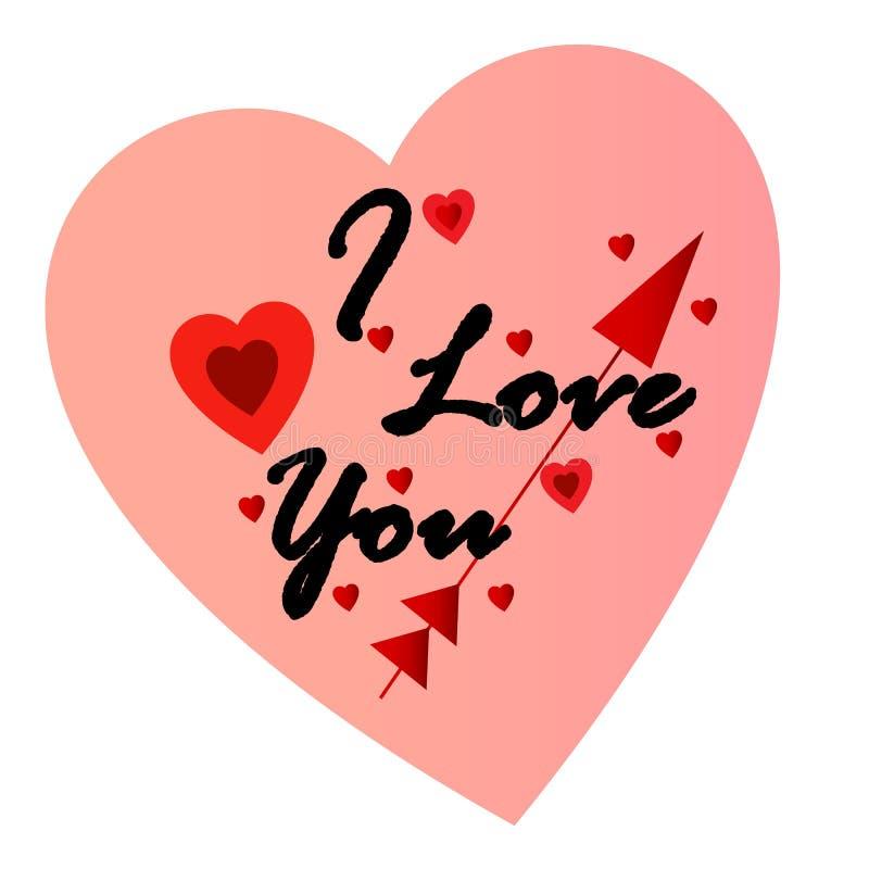 Kocham ciebie w pomarańczowym koloru sercu royalty ilustracja