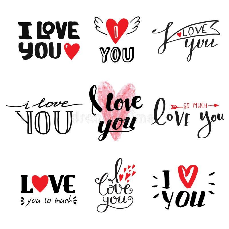 Kocham Ciebie wektorowy tekst ilustracji