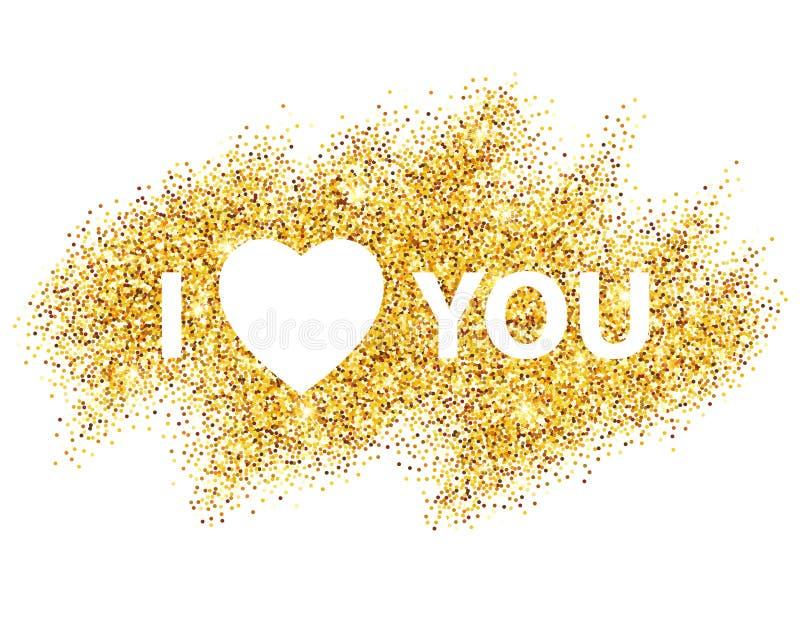 Kocham ciebie wiadomość i kierowy złoty błyskotliwość projekt ilustracji