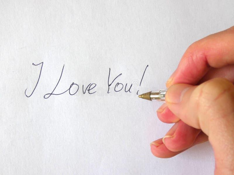 Kocham Ciebie Writing ręka fotografia stock