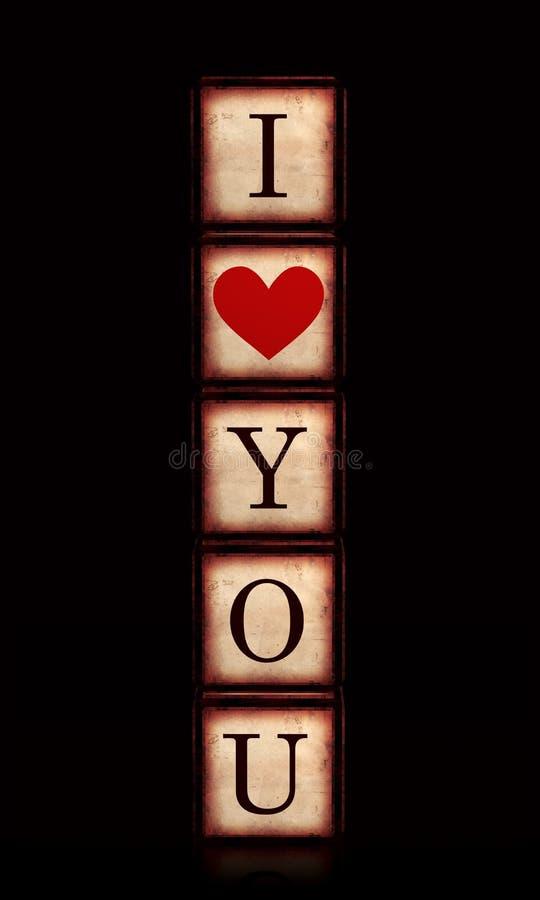Kocham ciebie z czerwonym sercem w 3d drewnianych sześcianach pionowo ilustracji