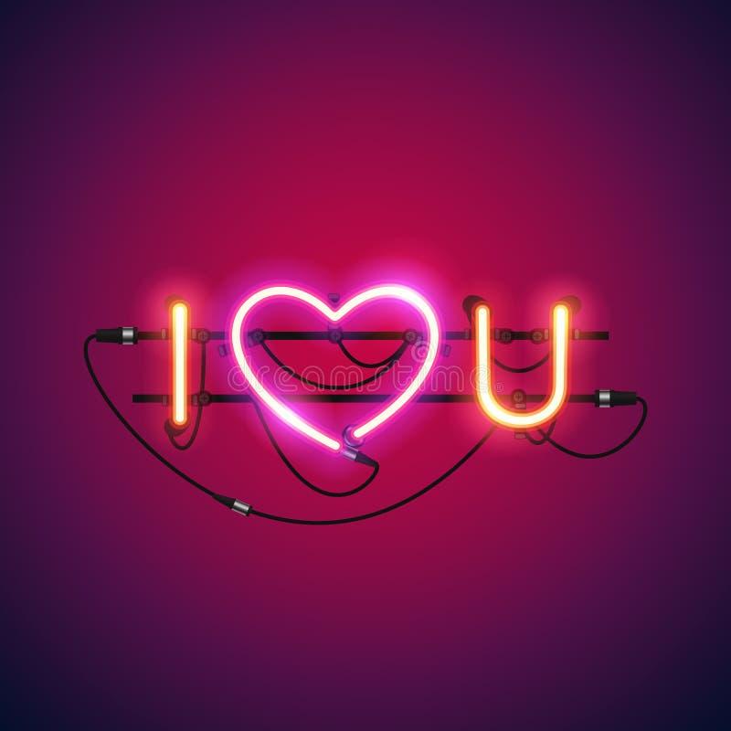 Kocham Ciebie z Różowym Kierowym Neonowym znakiem royalty ilustracja