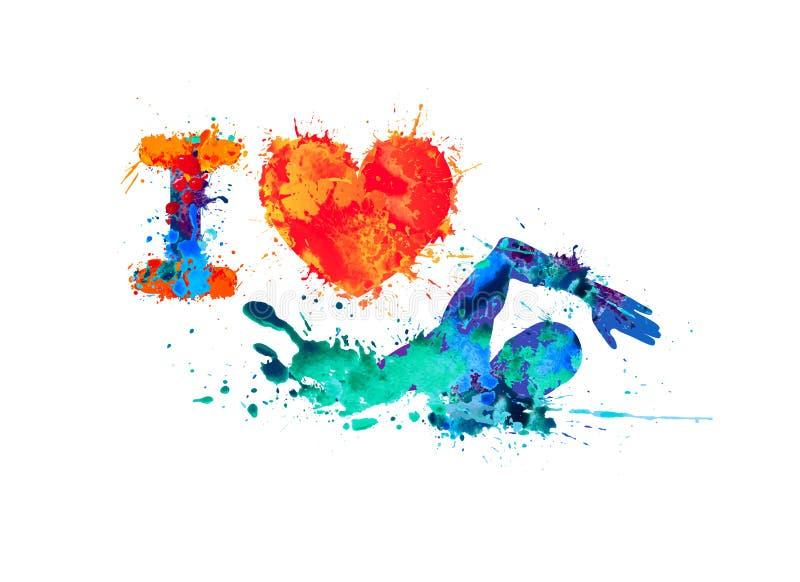 Kocham dopłynięcie Pływaczka pluśnięcie farba ilustracja wektor