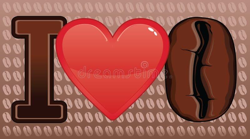 Kocham Kawową fasolę royalty ilustracja