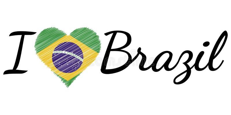 Kocham kraju Brazylia, teksta kierowy Doodle, wektorowy kaligraficzny tekst, Ja kocham Brazylia chorągwianego kierowego patrioty ilustracja wektor