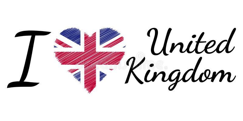 Kocham kraju Zjednoczone Królestwo, teksta kierowy Doodle, wektorowy kaligraficzny tekst, Ja kocham Zjednoczone Królestwo chorągw ilustracja wektor