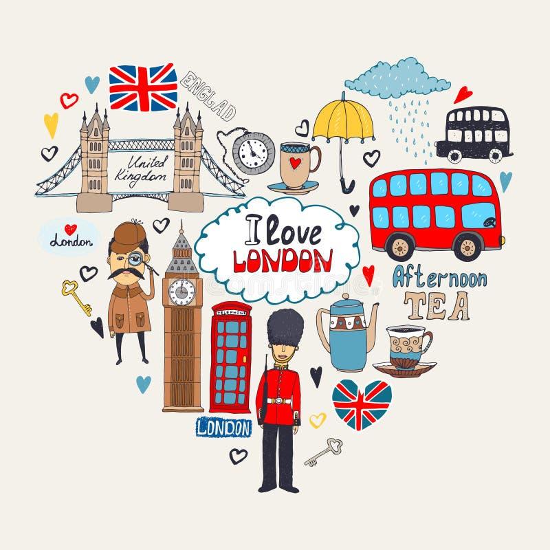 Kocham Londyńskiego karcianego projekt ilustracja wektor