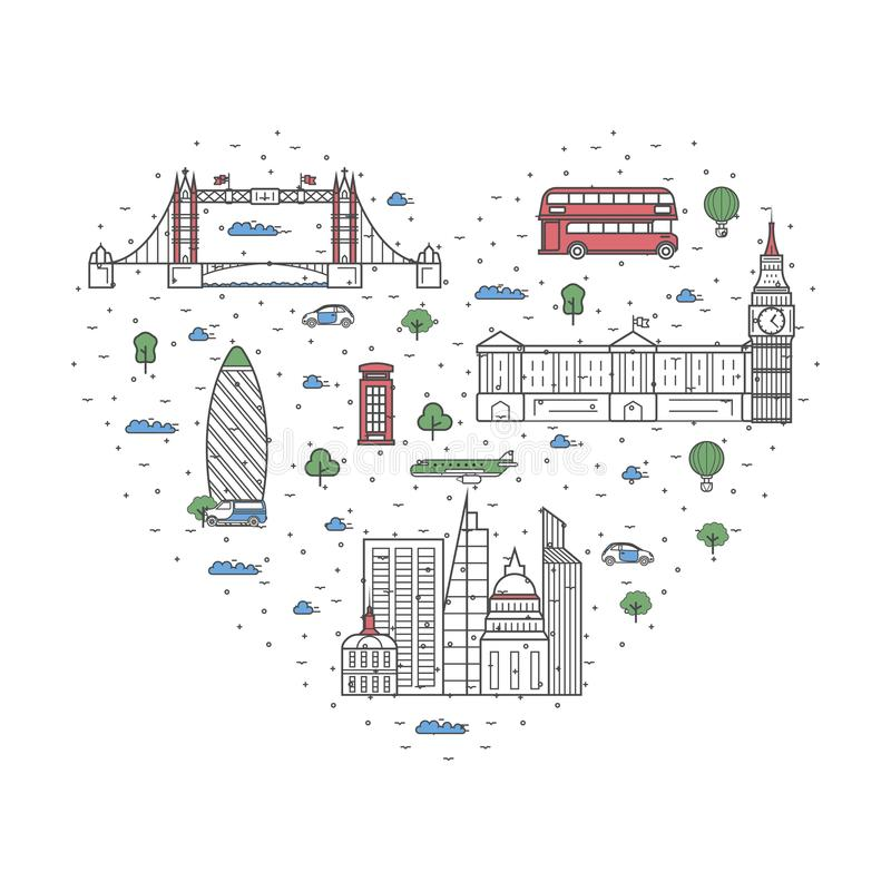 Kocham Londyńskiego plakat w liniowym stylu royalty ilustracja