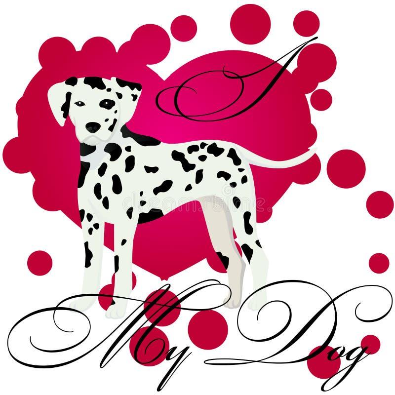 Kocham mój dalmatian ilustracji