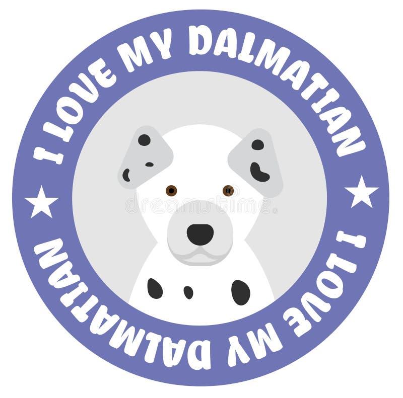 Kocham mój dalmatian odznakę ilustracji