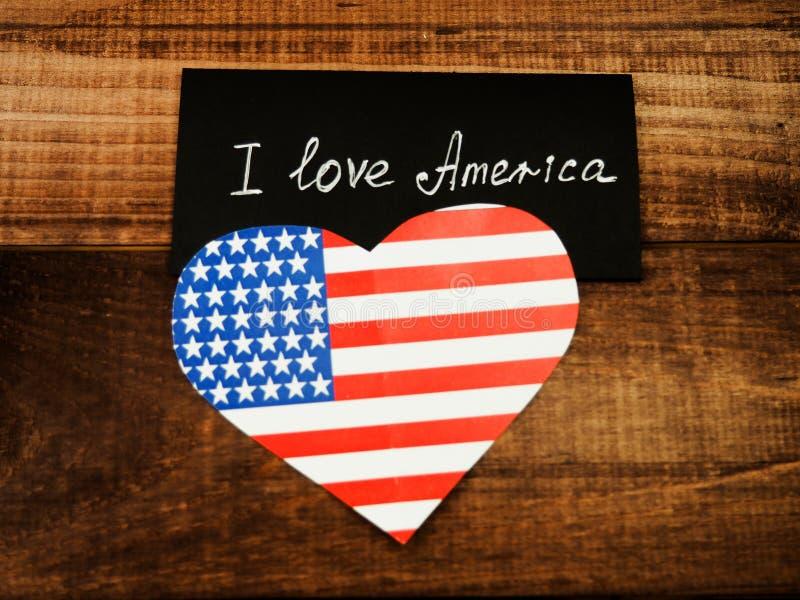 Kocham Mój kraju Ameryka flagę zdjęcie stock