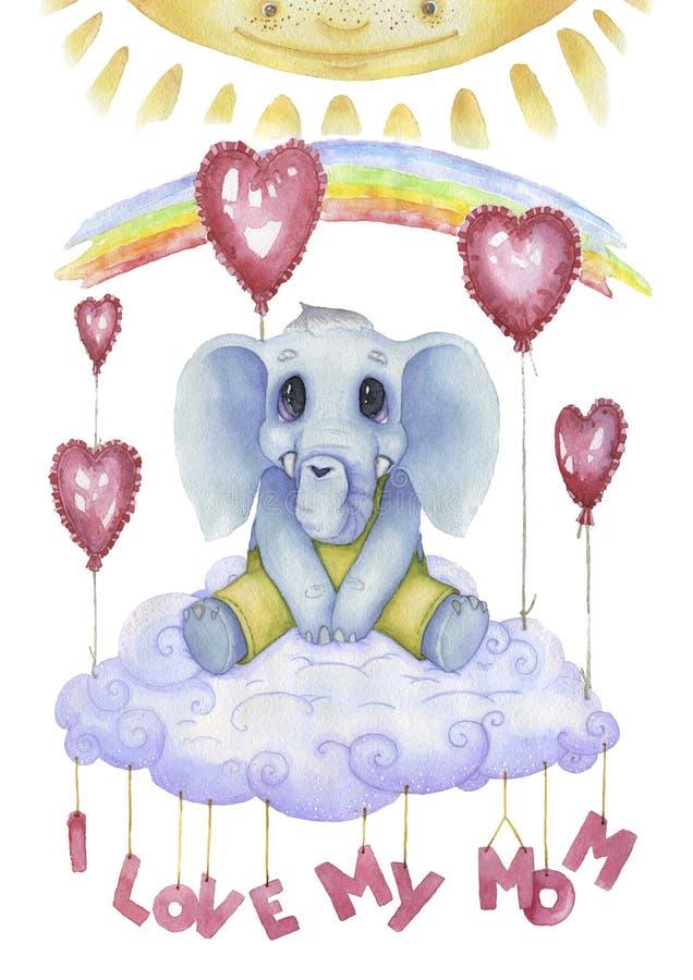 Kocham mój mamy, watercolour plakat dla pepiniery Śliczny charakter, mały słoń literowanie ilustracji