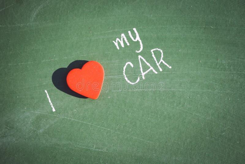 Kocham mój samochodowego zwrot ręcznie pisany obrazy royalty free