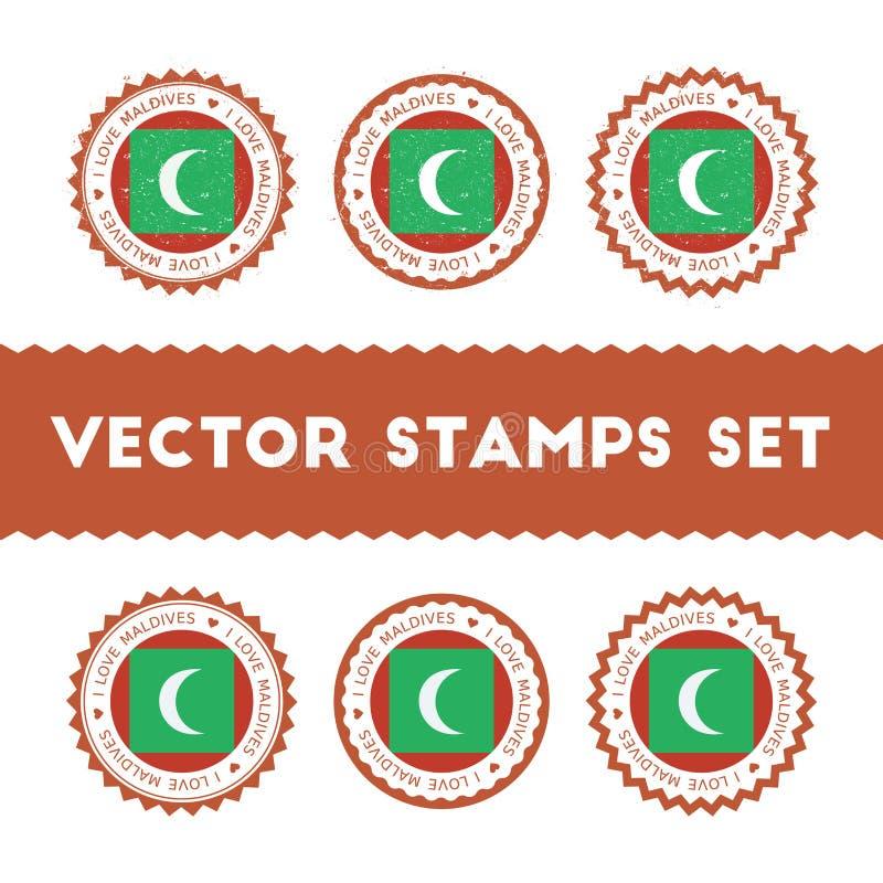 Kocham Maldives wektorowych znaczki ustawiających royalty ilustracja
