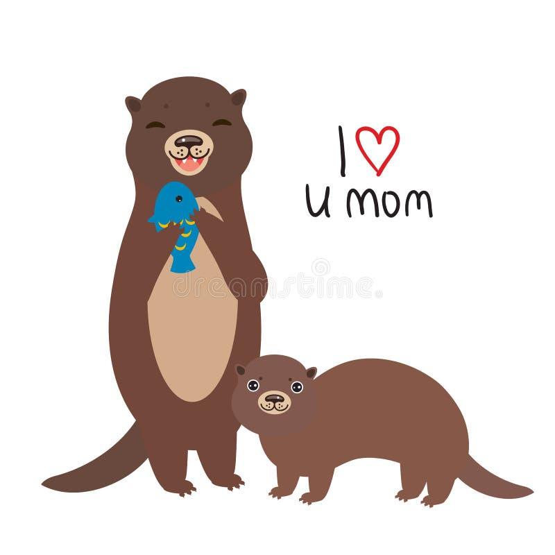 kocham mamę Śmieszny brąz żartuje wydry z rybą na białym tle Znakomita prezent karta dla matka dnia Dziękuje mamy Kawaii ilustracja wektor