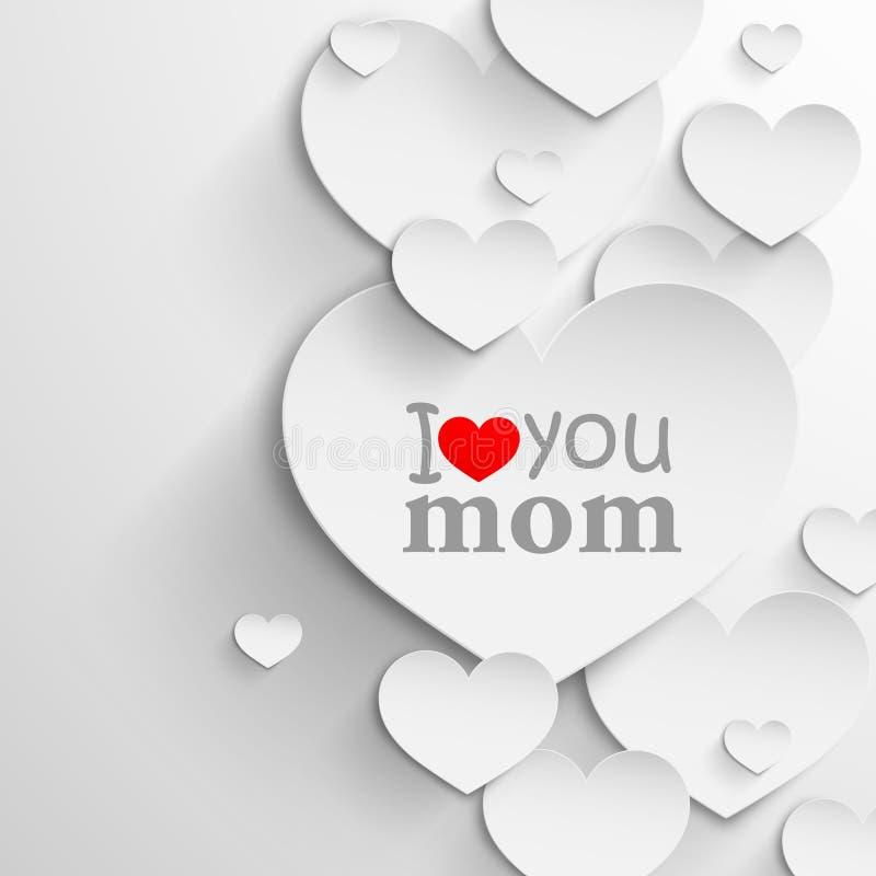 kocham mamę Abstrakcjonistyczny wakacyjny tło z sercami i faborkiem Matka dnia pojęcie ilustracji
