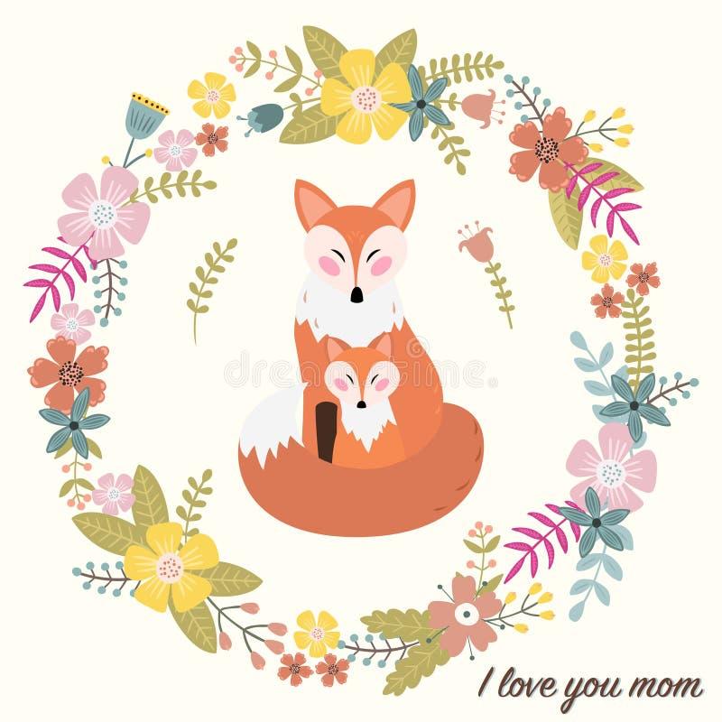 kocham mamę Kartka z pozdrowieniami dla matka dnia royalty ilustracja