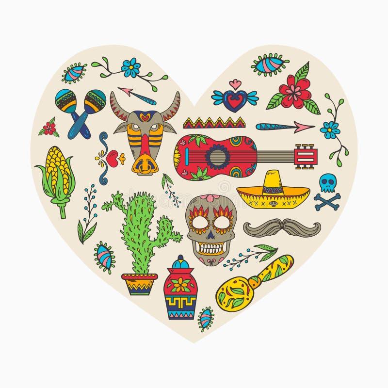 kocham Meksyk Set Meksykański tradycyjny i ilustracja wektor
