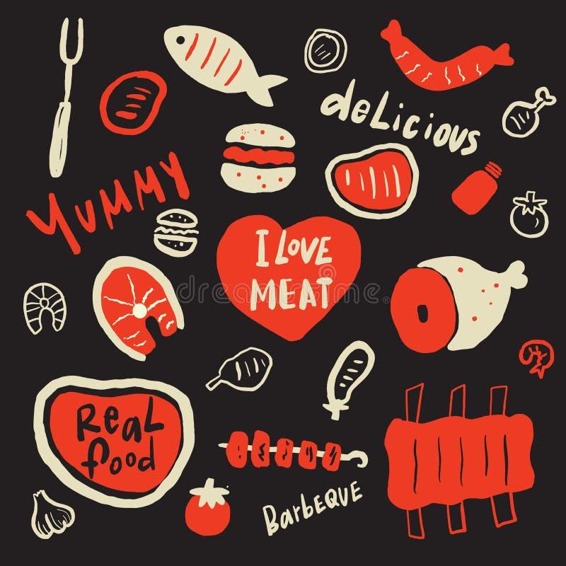 Kocham mięso Śmieszna ręka rysujący tło z różnymi karmowymi elementami i inskrypcja o smakowitym jedzeniu Ideał dla grilla royalty ilustracja