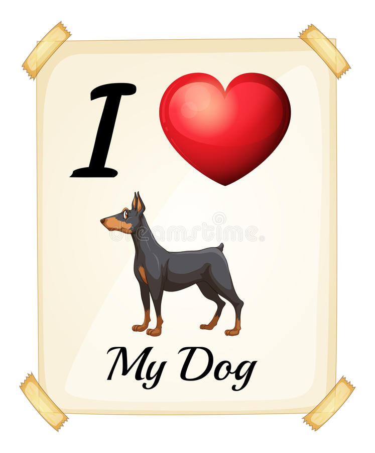 kocham mojego psa ilustracji