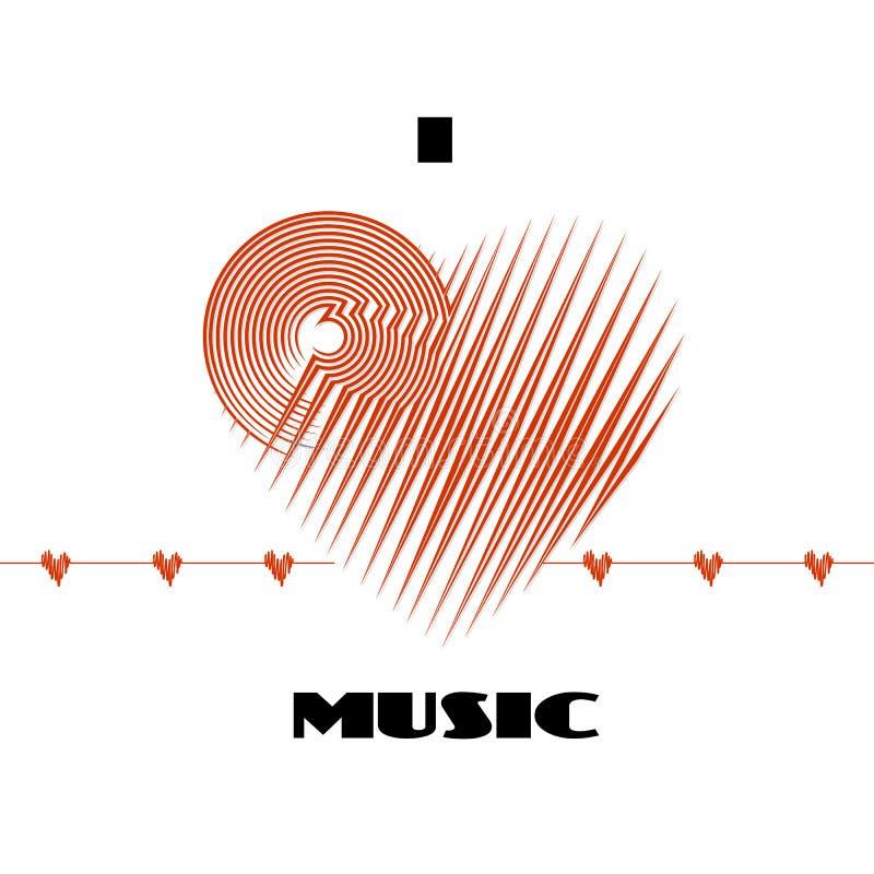 Kocham muzyczną abstrakcjonistyczną plakatową etykietkę odizolowywającą na białym tle z cardio serce fala ugięciem royalty ilustracja