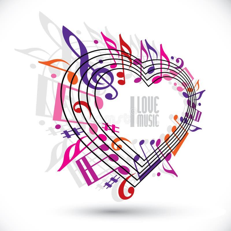 Kocham muzycznego szablon w czerwieni menchiach i fiołków kolorach ilustracji
