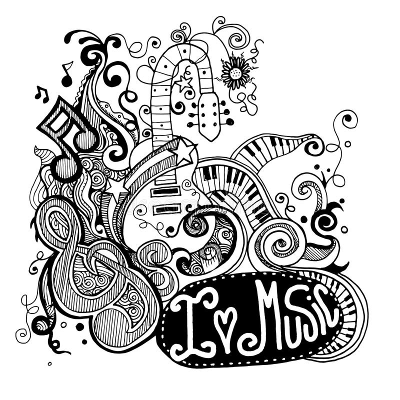 Kocham Muzycznych Szkicowych notatników Doodles, zawijasy pociągany ręcznie i royalty ilustracja