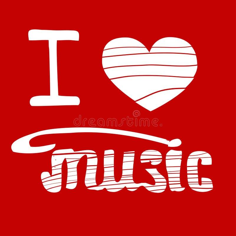 kocham muzykę pociągany ręcznie wektorowa ilustracja ilustracji
