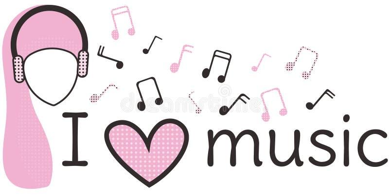 kocham muzyk? Czarny i R??owy sztandar Inskrypcja głowa kobieta w hełmofonach i muzykalne notatki na białym tle, ilustracja wektor