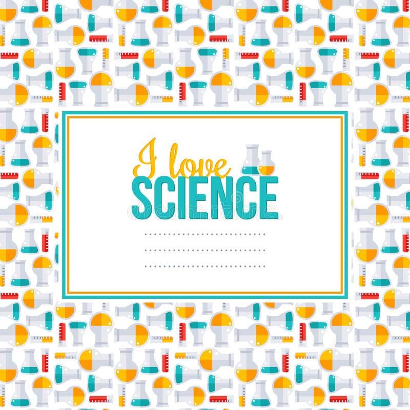 Kocham naukę, wzór z kwadrat ramą, kolbę i tubki, ilustracji