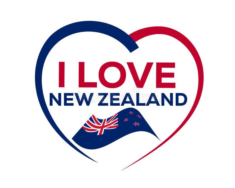 Kocham Nowa Zelandia ilustracji