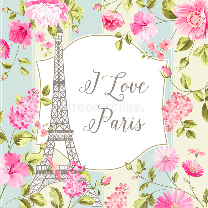 Kocham Paryż kartę ilustracja wektor
