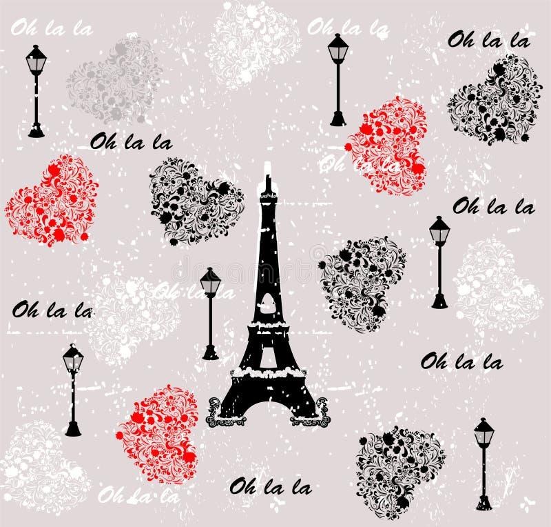 Kocham podróż deseniowy Paris Bezszwowy tło ilustracja wektor