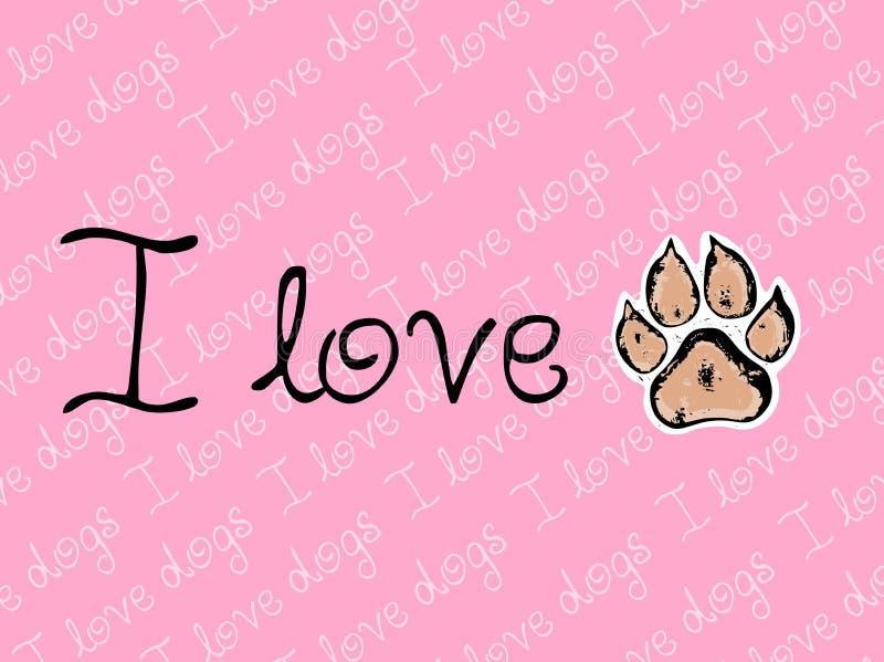 Kocham psy różowię wektorowego tło z psią łapą royalty ilustracja