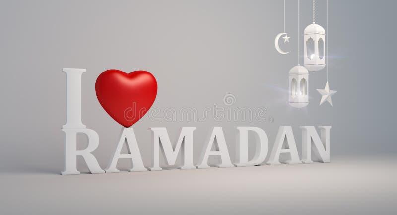 Kocham Ramadan tekst z czerwonym kierowym kształta symbolem, wieszający arabską latarniową półksiężyc księżyc i gwiazdy papierową ilustracji
