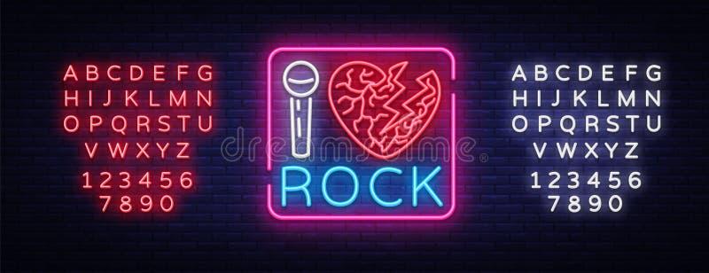 Kocham rockowego neonowego signboard Muzyka rockowa neonowy znak, symbol, jaskrawa ikona, projekta rock and roll element wektor ilustracja wektor