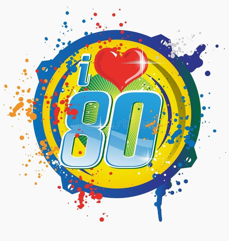 Kocham 80s muzycznego symbol ilustracja wektor