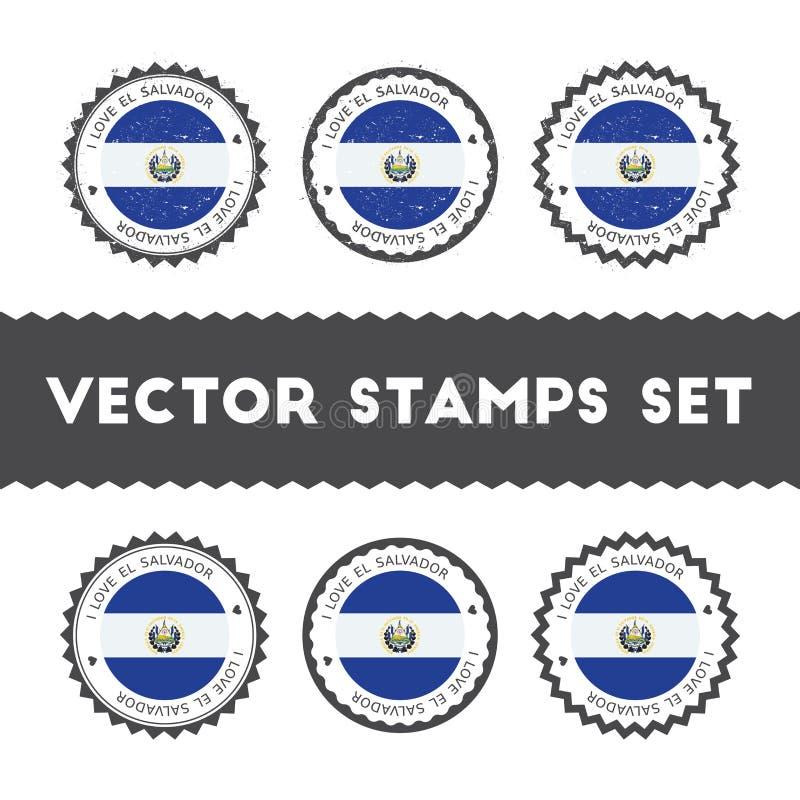 Kocham Salwador wektorowych znaczki ustawiających ilustracja wektor
