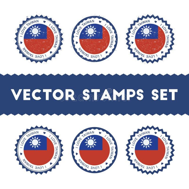 Kocham Tajwan, republika Porcelanowi wektorowi znaczki ilustracja wektor