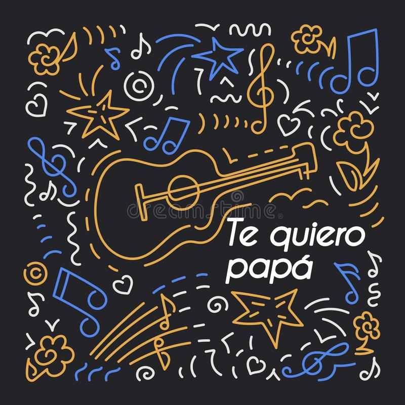 Kocham taty, w hiszpańszczyznach Urodzinowa karta, ojca dzień ilustracji