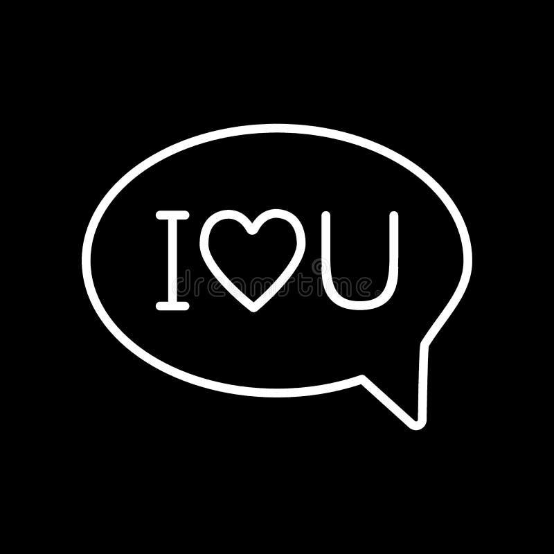 Kocham u wiadomość z kierowej linii ikoną Mowa bąbel z miłość teksta wektorową ilustracją odizolowywającą na czerni Miłości gadka ilustracja wektor
