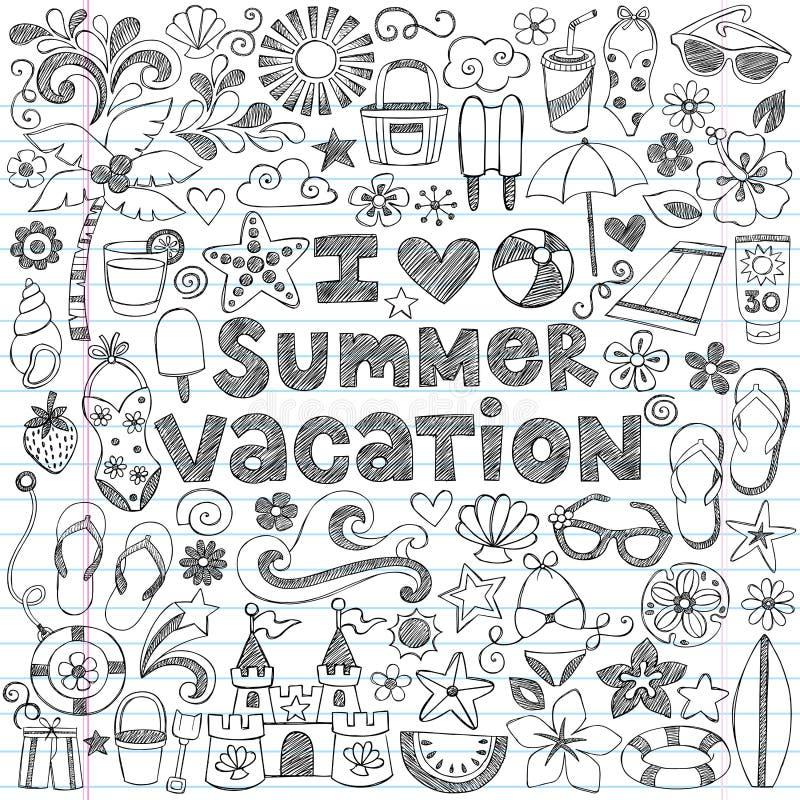 Kocham wakacje Doodle Tropikalnego wektor ilustracja wektor