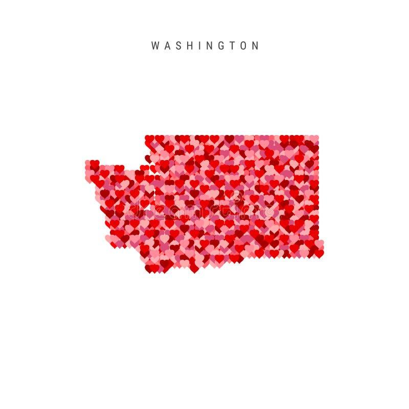 Kocham Waszyngton Czerwonych serc Deseniowa Wektorowa mapa Waszyngton ilustracja wektor